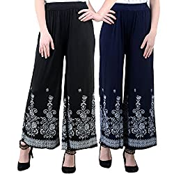 NumBrave Black And Navyblue Viscose Floral Print Palazzo Pants for Women-Pack of 2