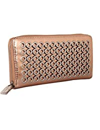 2ae075348f28 Red Cuckoo London Faux Metallic Leather Purse with Circular Detail