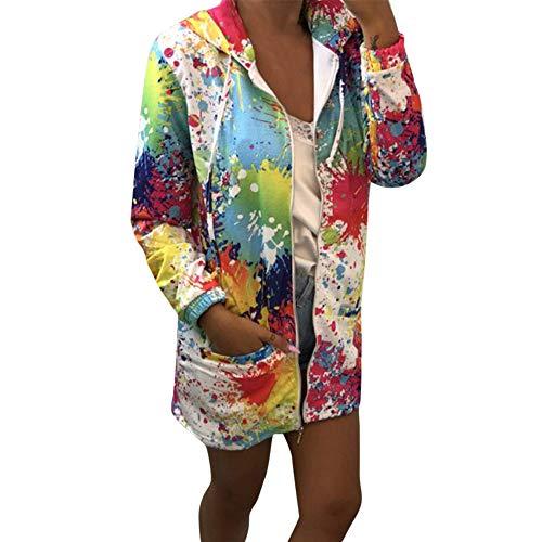 SHOBDW Frühling Herbst Mode Damen Tie färben Drucken Coat Outwear Sweatshirt Kapuzenjacke Mantel Youth Frauen Mädchen Kordelzug Hoodie Strickjacke Oberbekleidung