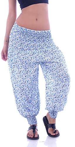 Damen Hippie Hose Goa Haremhose Pluderhose Sommerhose Blumenmuster One Size Gelb