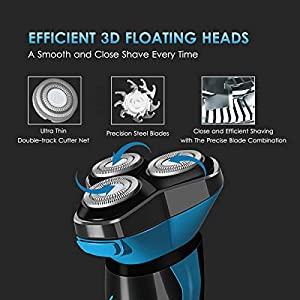 Electric Shaver for Men Waterproof Wet and Dry, Men's Electric Razor Cordless Rechargeable 3D Rotary Shaver Razors with Pop-up Trimmer, LCD Display & Travel Lock