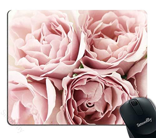 Pink Roses Rugosa Flower Personality Designs Mouse Pad, Retro Floral Art Mousepad Mat Custom,