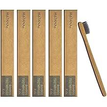 Paquete de 5 Cepillos de Dientes Manual de Bambú Chuckle – Tamaño Infantil para Cuidado Bucal de Niños - Blanqueador Dental Natural – Ecológico, Orgánico y Biodegradable sin BPA