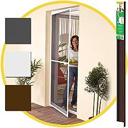 Puerta mosquitera 100 x 215 cm - Marco de aluminio marrón + Rejilla contra insectos -Tamaño adaptable