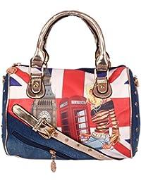 Bee Fashionable Blue Denim Printed Shoulder Bag/Handbag For Women/Girls