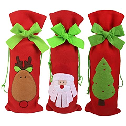 3pcs Bolso Envoltura Cubierta Botella de Vino Patrón Santa Árbol Ciervo Xmas Regalo para Navidad