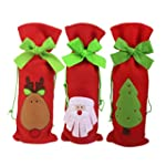 3pcs Christmas Wine Bottle Bag Gift W...
