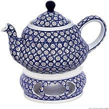 Original Bunzlauer Keramik Teekanne 1,5 Liter mit integriertem Sieb und Stövchen im Dekor 4