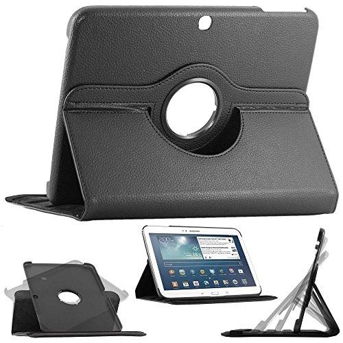 ebestStar - pour Samsung Galaxy Tab 3 10.1 GT-P5210, 10 pouces P5200 P5220 - Housse Coque Etui PU cuir Support rotatif 360° + Film, Couleur Noir [Dimensions PRECISES de votre appareil : 243.1 x 176.1 x 8 mm, écran 10.1'']