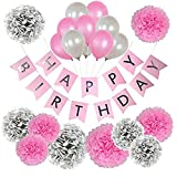 VeronaSupply Geburtstagsparty-Dekorationspaket Happy Birthday Banner, Party Latex-Luftballons mit Seidenpapier Blumen Pompons in Rosa, Silber und Gold