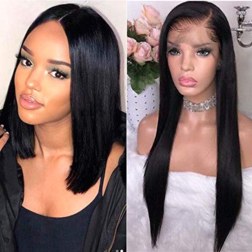 Maxine Hair Brazilian Virgin Straight Human Hair Lace Front Wigs Glueless Short Bob Human Hair Wigs With Baby Hair For Black Women 10inch Short Lace Wigs Adjustable Straps -