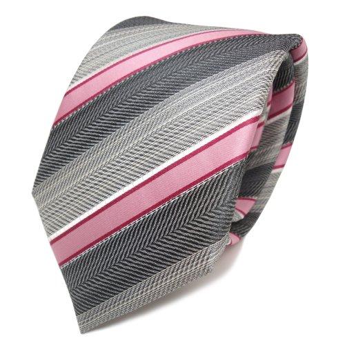 TigerTie Seidenkrawatte rosa rot grau silber anthrazit gestreift - Krawatte Seide