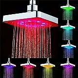 GuDoQi 7 Farben Ändern LED Dusche Kopf Bad Regendusche Kopf Wasserfall Dusche Kopf 6 Zoll Quadrat