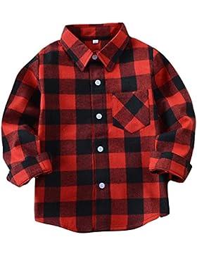 Camisa Niño Manga larga - Camisa Cuadros Blusa Niños Tops Niñas Camiseta Primavera Otoño Tshirt Tartan Shirt Escuela...