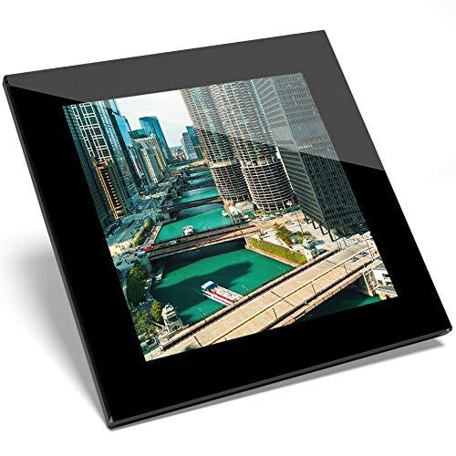 Destination Vinyl #16946 Untersetzer Downtown Chicago River USA, Glas, Geschenk für Küche, Student Chicago Küche