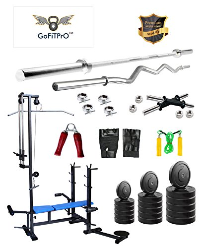 Gofitpro 50 Kg Home Gym With 20 In 1 Bench +5 Plain Rod + 3 Ft Curl Rod