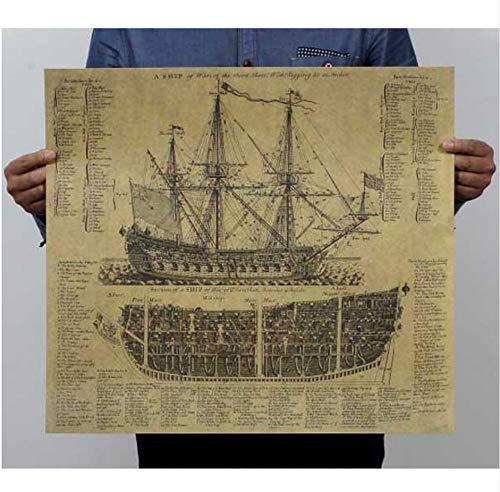 Yirenfeng Große maritime Ära Alte Kriegsschiffentwurfszeichnungen, Vintage Poster, Papier, Poster, Wandaufkleber, Wanddekoration