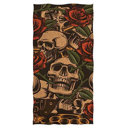 VLOOQ-HX Vintage Skulls Rose y Gun Pattern Toallas de Mano Decorativas Grandes,...