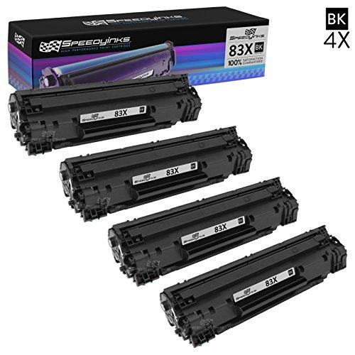 4 X Neue Toner (Speedyinks™ Neue Version Ersatz für HP CF283X / 83X 4er set Hohe Kapazität schwarz Laser Toner Patronen für Verwendung in HP LaserJet Pro M201dw, & M225dn)