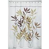 InterDesign Leaves Duschvorhang | Designer Duschvorhang in der Größe 180,0 cm x 200,0 cm | schickes Duschvorhang Motiv mit Blättern | Polyester braun