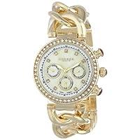 Akribos XXIV Women's Swiss Quartz Multifunction Date Crystal Watch - White Mother Of Pearl Dial - Luminous Hands - Gold Jewelry Chain Bracelet Link Strap - AK640