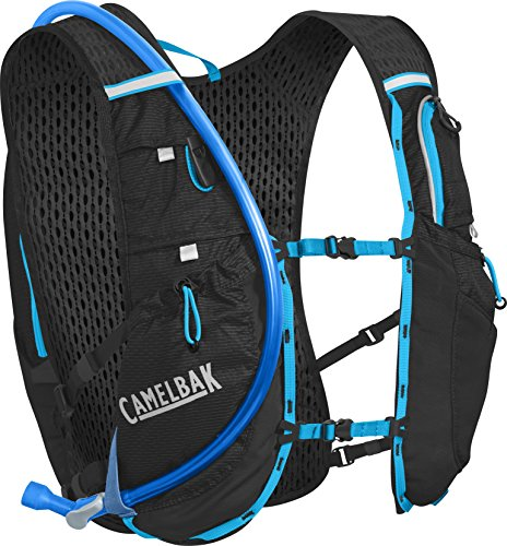 CamelBak Ultra 10 Mochila de Hidratación, Hombre, Negro/Azul (Atomic Blue), Talla Única