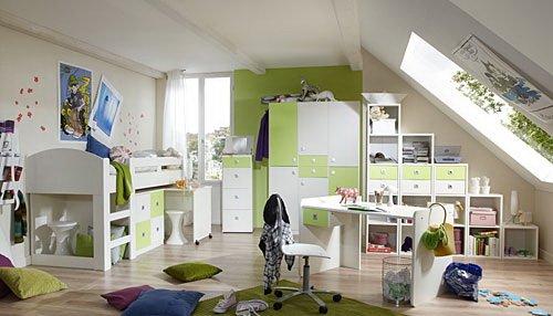 lifestyle4living Jugendzimmer 2-t.g in Alpinweiß mit Abs. in Apfel-Grün, 3-TRG. Kleiderschrank B. 135 cm, Hochbett mit Schreibtisch und Kommode B: 204 cm (Kommode Schreibtisch Hochbett)
