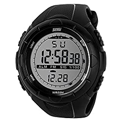 Skmei SK1025BLK Sports Digital Watch with Stopwatch , Alarm - Black Dial - For Men and Boys
