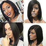 Perruque de cheveux humains brésiliens vierges sans colle, coupe carrée, couleur noire naturelle