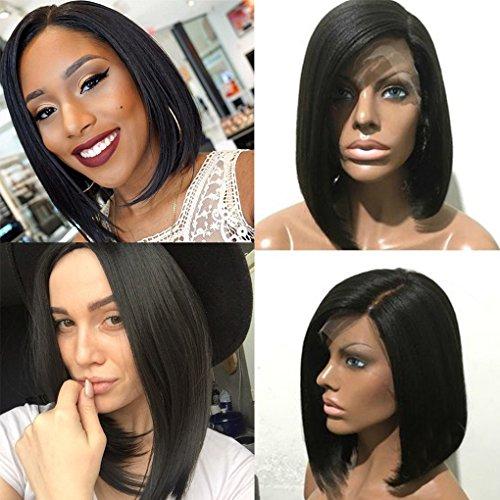 Parrucca, grado 7a,capelli naturali brasiliani, veri, ondulati, colore nero naturale, con laccetto senza colla, da donna
