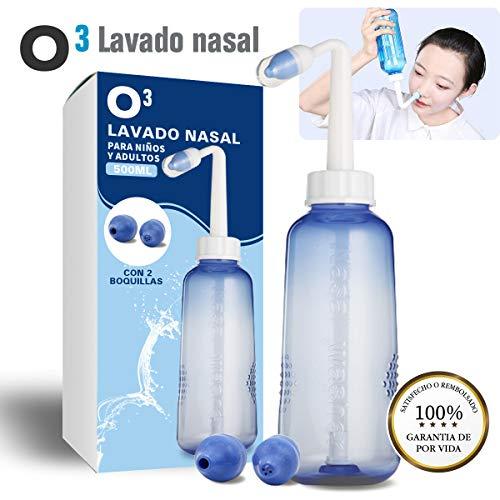 O³ Lavado Nasal 500 ml Con 2 Boquillas Para Bebes Y Adultos...