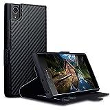 Terrapin, Kompatibel mit Sony Xperia XA1 Plus Hülle, Leder Tasche Case Hülle im Bookstyle mit Standfunktion Kartenfächer - Schwarz Karbonfaser Dessin