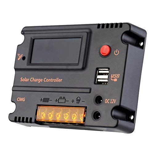 Blusea 20A Solarlade Regler Solar Panel Batterie Regulator mit Dual USB und LCD Bildschirm 12V/24V