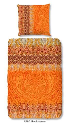 Zouzou Baumwoll Satin Bettwäsche Claudia 2120 Paisley Ornamente Orientalischer Chic 135 cm x 200 cm Orange
