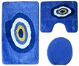 Badgarnitur 3-teilig blau weiß, Motiv schützendes Auge Nazar, mit Ausschnitt.für Stand-WC, 80 x 50cm (große Matte), 50x40cm (kleine Matte)