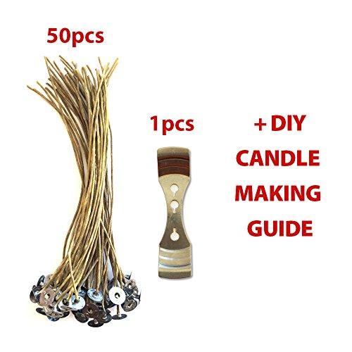 CozYours 200 mm lange Kerzendochte 50 Stück mit Kerzendocht-Halter; geringe Rauchentwicklung und natürlich, Inklusive E-Book über Kerzen-DIY-Hacks; Kerzendochte für die Kerzenherstellung