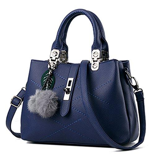 Pelz Frauen Tasche Handtaschen Frauen berühmter Designer Damen Leder Handtaschen Damen Taschen Schulter Sac Blau 29 cmX 21 cmX 13 cm