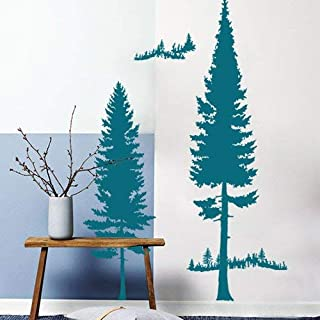 Wall paint Self-Adhesive Background Wall,A Large Welcoming Nordic Cedar Bedroom Stickers to Wall above Tv in Living Room Walls Decorated with Posters,Decorative Waterproof Stickers,A-green Lake,A-gre
