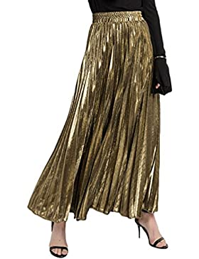 ZKOOO Velvet Maxi Falda Mujeres Verano Plisada Vintage Larga Falda Cintura Alta Skirts Playa Fiesta