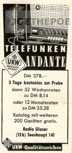 1952 Anzeige / Inserat : TELEFUNKEN ANDANTE RADIO - Format 90x45 mm - alte Werbung / Originalwerbung/ Printwerbung / Anzeigenwerbung