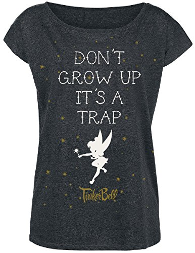 peter-pan-tinker-bell-dont-grow-up-girl-shirt-dunkelgrau-meliert-l