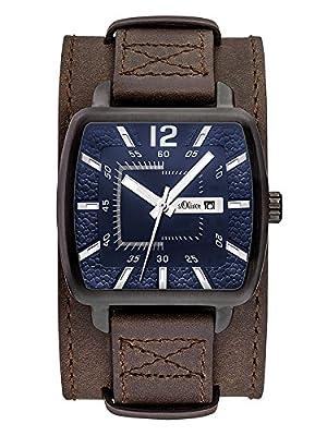 s.Oliver SO-3048-LQ - Reloj para hombres, correa de cuero color marrón de s.Oliver