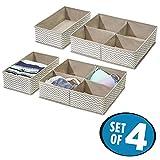 mDesign 4er-Set Schubladen Organizer – Stoff Aufbewahrungsboxen für Kleiderschrank oder Kommode – Schubladeneinsätze mit 1 bzw. 4 Fächern für Socken, Unterwäsche, BHs etc. – taupe/natur