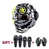 XSWE Off-Road Motorrad-Helm, Motocross-Helm ATV Moto Helm Cross Downhill Helm (Handschuhe, Wrist Pads, Knie-Pads, Set of 4),yellowstar,XL