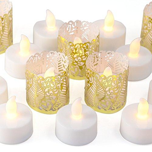 Votivkerzen - Gold Dekorative Halter Wraps Enthalten, LED Teelichter Mit Warmen Gelben Flickering Flame, Batterie Betrieben 24 ()