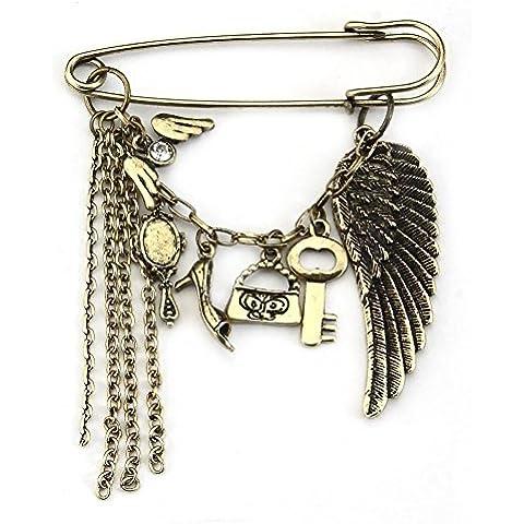 Spilla ali scarpe specchi chiavi artefatti (Oro Antico) Realizzato con rame da Joe Cool - Artefatti Spilla