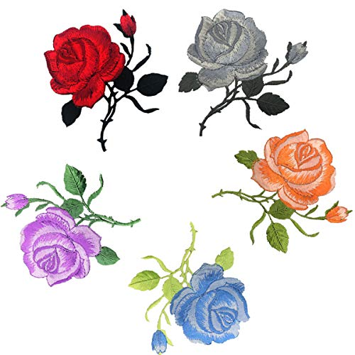 Woohome Flores Bordadas Ropa 5 Pz Patch Sticker Rosa
