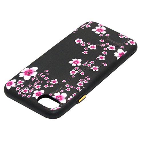 Coque iPhone 8 iPhone 7 Noir Arrière Étui avec Motif de Fleurs, Moon mood® Ultra Mince Souple TPU Silicone Coque de Protection pour Apple iPhone 7 4.7 pouces Soft Case Back Cover Bumper Slim Gel TPU D Style-8