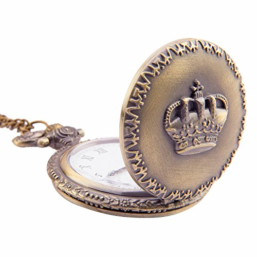 Kartique Full Hunter Pocket Watch Crown Embossing | Roman Number Dial | Pendant | Necklace | Locket