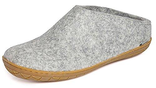 Glerups Modell BR Modischer Erwachsenen Hausschuh für Damen & Herren aus Wolle, Rutschfester Gummisohle, hinten offen, entspricht dem Modell B nur mit Gummisohle Grau (Grey), EU 43